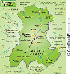 Map of auvergne as an overview map in green