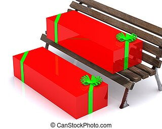 present boxes on  bench. 3D