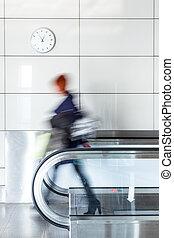 Walking person on walkway - Walking young woman on walkway...