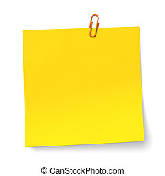 Yellow note with orange Paper clip