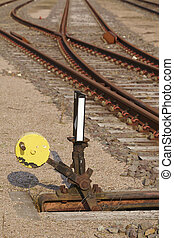 Railway switch - Symbolizes a decision - Tracks and a...