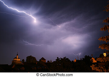 Thunderbolt and lighning - Lightning in a storm in old...