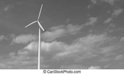 black and white windmill - footage of black and white single...