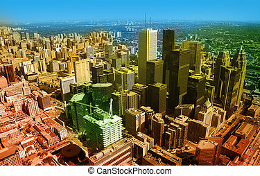 toronto - colored aerial photo of toronto, long distance...