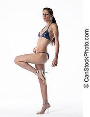 Bikini Model - Pretty model wearing bikini on white isolated...