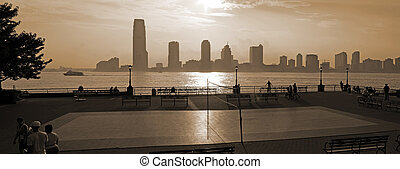 new jersey viewed from manhattan sepia photo