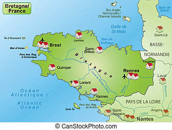 Map of Brittany as an overview map in green