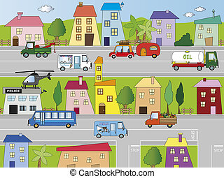 city - Illustration of city with building and...