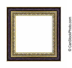 Vintage gold frame with blank space, with clipping path