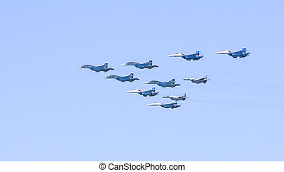 Ceremonial flight aviation in sky over Moscow - Ceremonial...