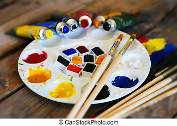Colors - Photo of brush mixed paint on the palette