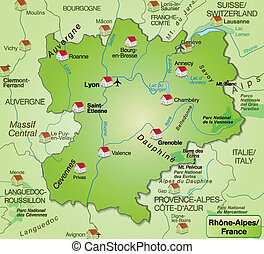 Map of Rhone-Alpes as an overview map in green