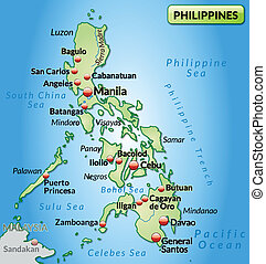 Map of philippines as an overview map in pastel green