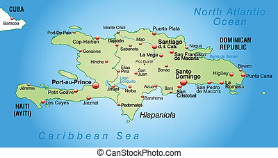 Map of hispaniola as an overview map in pastel green
