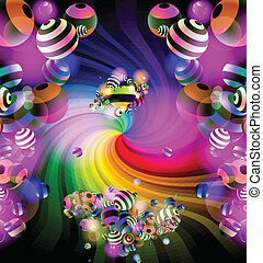 Spiral and balls - Colorful background colorful spiral that...
