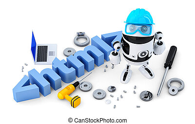 Robot with HTML sign. Technology concept. Isolated on white...