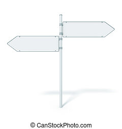 road sign 2 arrows - An image of a blank road sign with two...