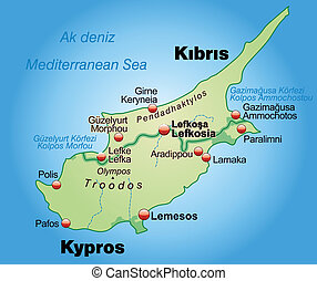 Map of Cyprus as an overview map in pastel green