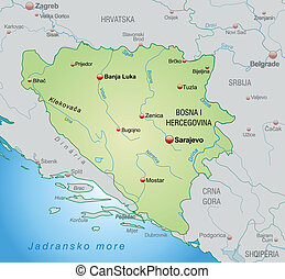 Map of Bosnia and Herzegovina as an overview map in pastel...