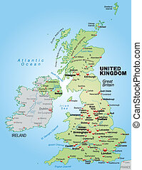 Map of England as an overview map in pastel green