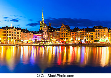 Old Town in Stockholm, Sweden - Scenic summer night panorama...