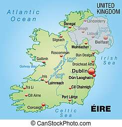 Map of Ireland as an overview map in pastel green