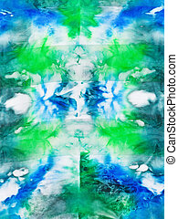 batik - abstract green and blue ornament on silk fabric