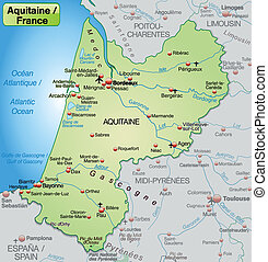 Map of aquitaine as an overview map in pastel green