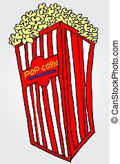 doodle pop corn - hand draw sketch of pop corn