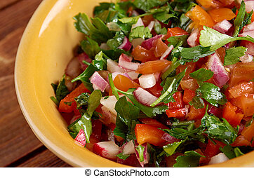 Pico de gallo - In Mexican cuisine.also called salsa fresca
