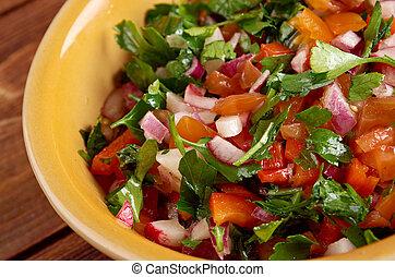 Pico de gallo - In Mexican cuisine.also called salsa fresca