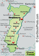 Map of Alsace as an overview map in pastel green
