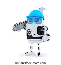3D Robot with adjustable wrench. Technology concept....