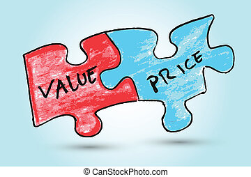 Value and price words - hand draw sketch,Value and price...
