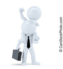 Businessmen sitting on the colleagues shoulders. Business concept. Isolated. Contains clipping path