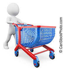 3D white people Shopping trolley - 3d white people Shopping...