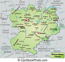 Map of Rhone-Alpes as an overview map in pastel green