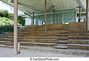 Wooden stair in a modern building