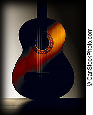 Spanish classic guitar with grey background Vertical