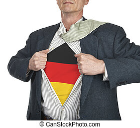 Businessman showing Germany flag superhero suit underneath...