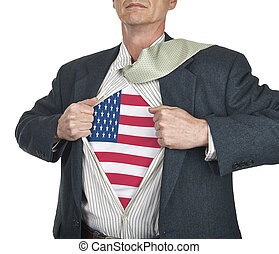 Businessman showing USA flag superhero suit underneath his...