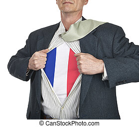 Businessman showing French flag superhero suit underneath...