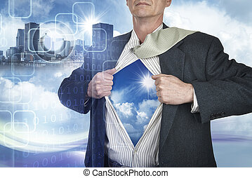 Businessman showing superhero suit underneath his shirt...