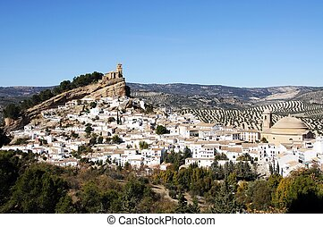 Church and town, Montefrio, Spain. - Church (Iglesia de la...