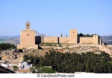 Castle, Antequera, Spain - Castle fortress with trees in the...