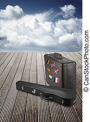 old suitcase and violin case with striples flags from Europe...