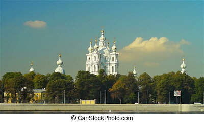 Beautiful Smolny cathedral under autumn sky - SAINT...