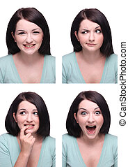 Beautiful Brunette Passport Photo Style Range Of Expressions...