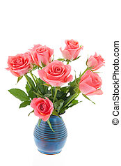 Bouquet pink roses in blue bucket isolated over white...
