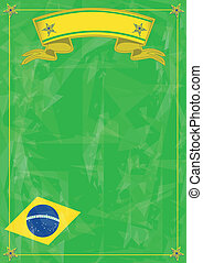 brazilian strange background - Brazilian grunge flag with...